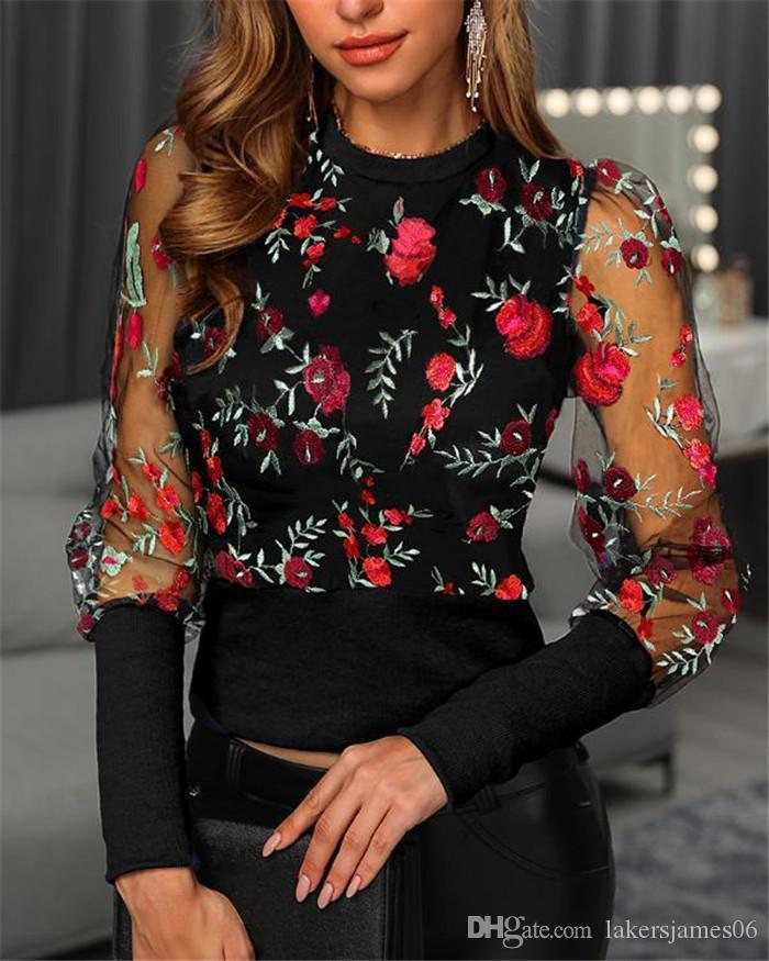 Spring Womens Designer Flower Embroidered Shirt Printed Stitching Mesh Long Sleeve Round Neck Shirt