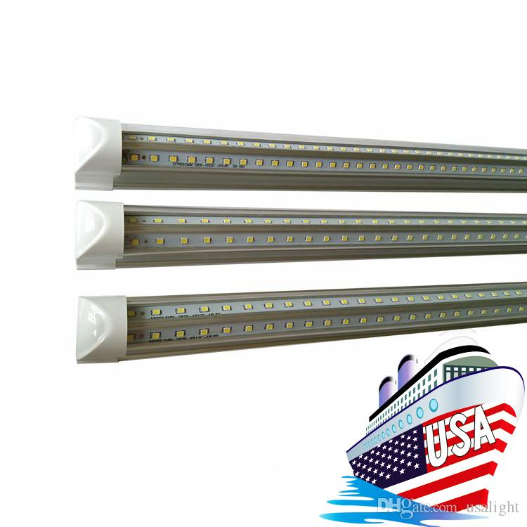 Светодиодные лампы 72 Вт прохладный белый V-образный интегрированный 8ft LED люминесцентный свет 8 футов двухрядный рабочий свет трубки лампы AC85-265V