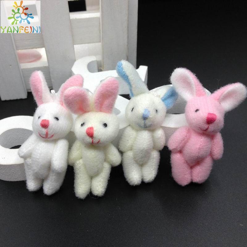Hotsale 4,5 centimetri Mini ripiene snodato coniglio, giocattoli di peluche per la bambola del mazzo del fumetto, Candy scatola dei giocattoli, fai da te / giocattoli del bambino Conigli 100pcs
