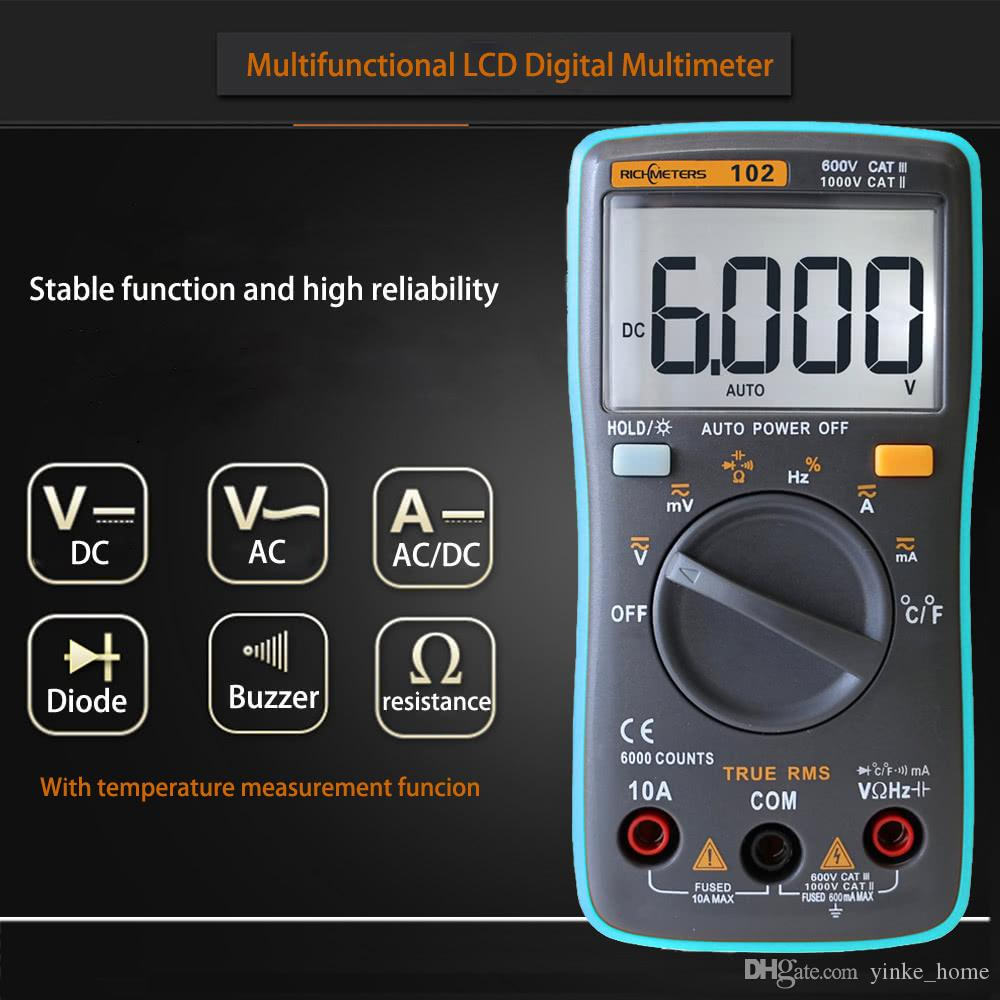 LCD Digital Multimeter DMM Detector DC AC Voltage Voltmeter Meter Resistance Diode Capaticance Tester Temperature Meaurement Multimeters