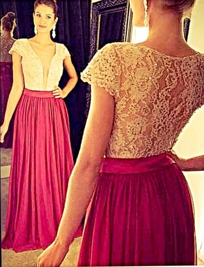 vestiod de festa Custom Made 2020 à manches courtes en dentelle Top Robes de soirée V manches longues col formel de bal Robes de soirée Robes