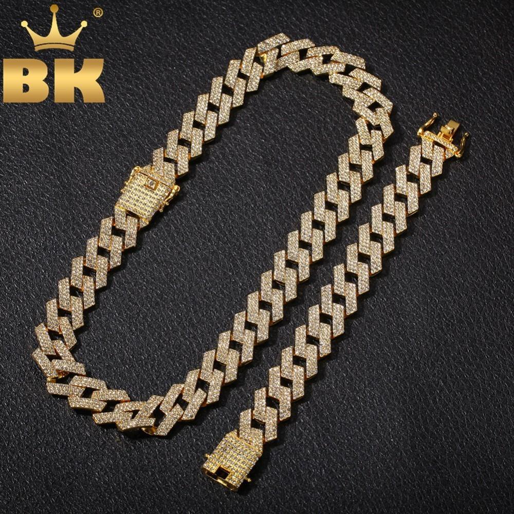 EL BLING KING 20mm Cadena Miami diente cubana NE + BA 3 fila completa hacia fuera helado diamantes de imitación collar de la pulsera para hombre del conjunto de joyería de Hiphop