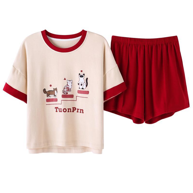 Women Pajama Sets Summer Pajamas 100%Cotton Cartoon Short Sleeve Women Sleepwear Cute Casual Soft Female Homewear Clothing M-XXL