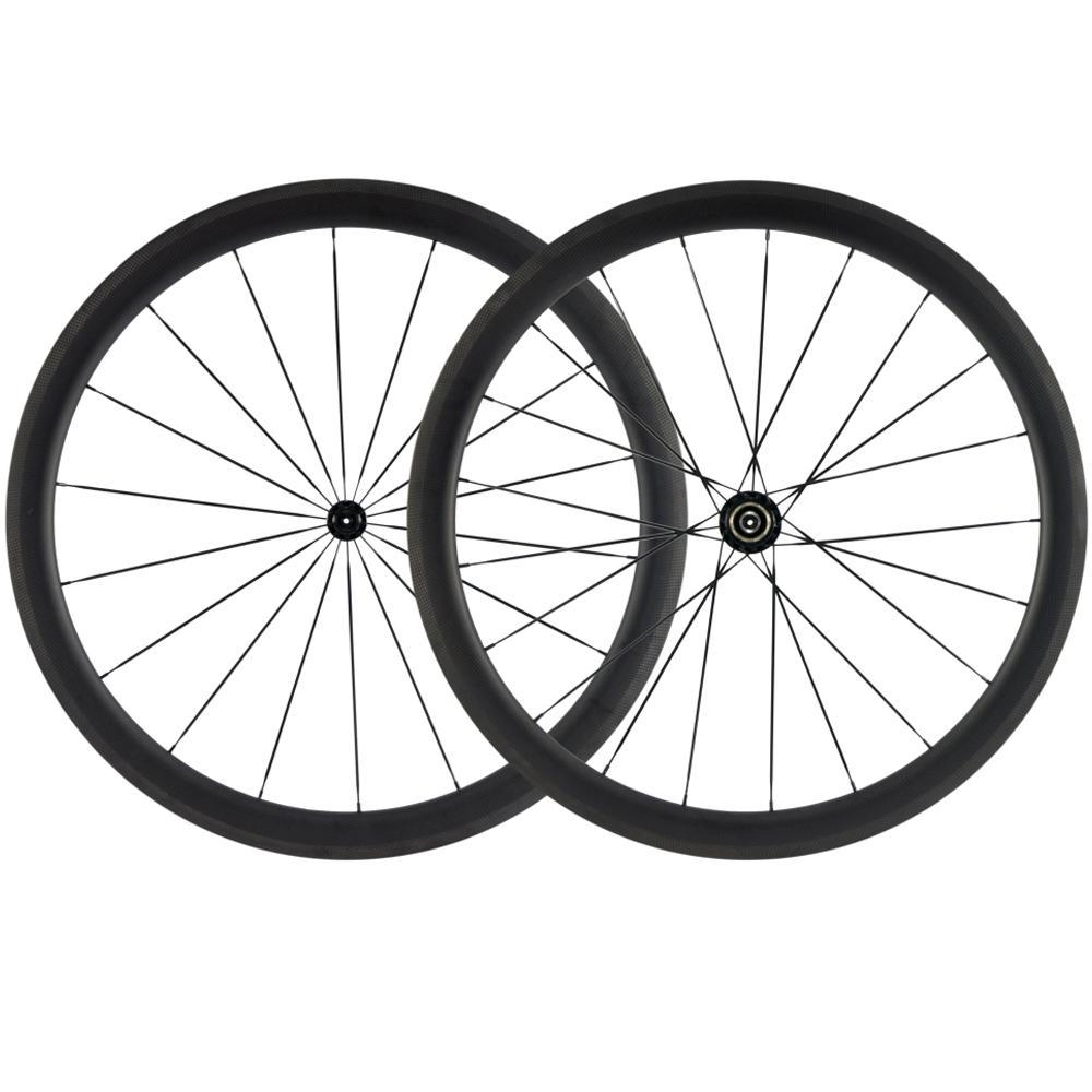 700C 45 milímetros Profundidade de carbono Wheelset Road Bike Clincher / Tubular / Tubeless carbono Rodas 25 milímetros Largura Preto R13 Hub