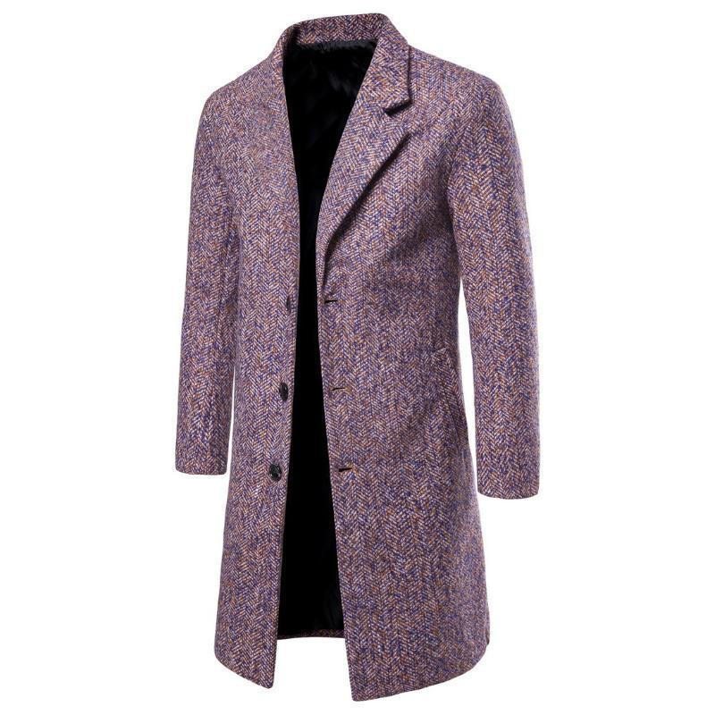 Sonbahar Ve Kış MEN'S Palto Kore tarzı Slim Fit Kat aşağı Yaka Orta uzunlukta Yün Coat-Yf12