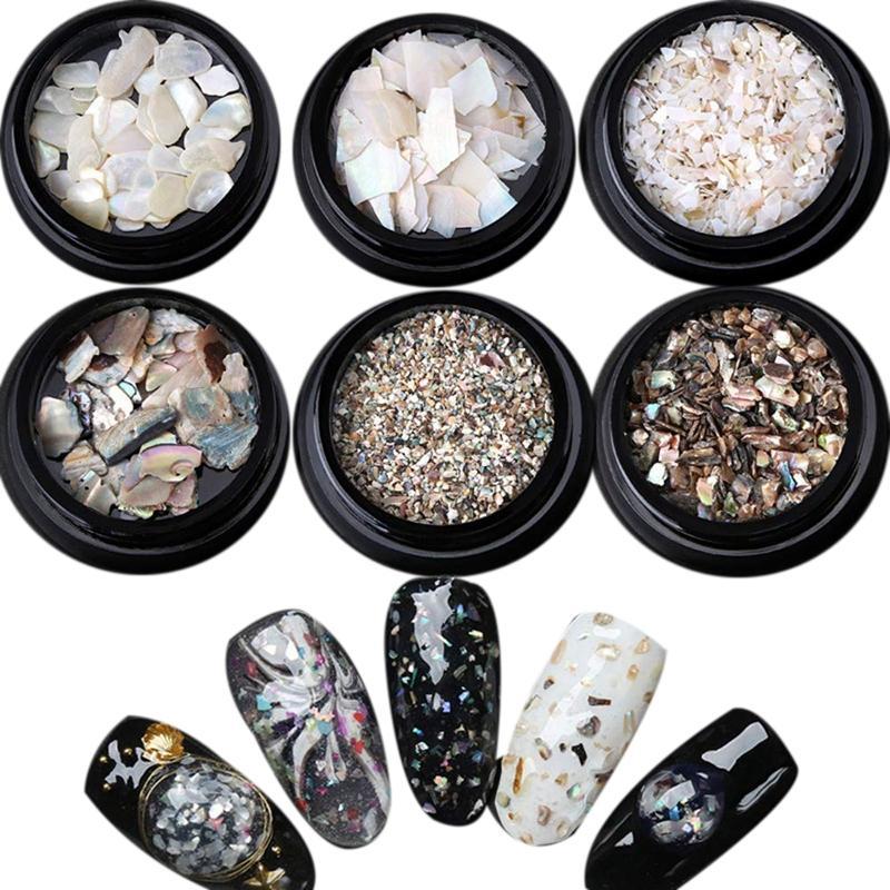7 pièces / mettre à ongles lumière naturelle Coquillage Tranches de particules concassée Manucure Shell Set Nail Art Glitter Outils de décoration