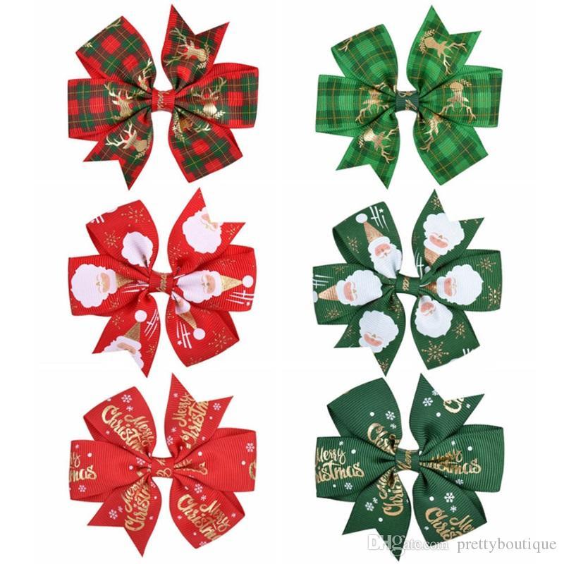 طفل بنات الشعر كليب عيد الميلاد باريت الشريط bowknot دبوس الشعر منقوشة إلك سانتا طباعة القوس التعادل دبوس الشعر التبعي A272