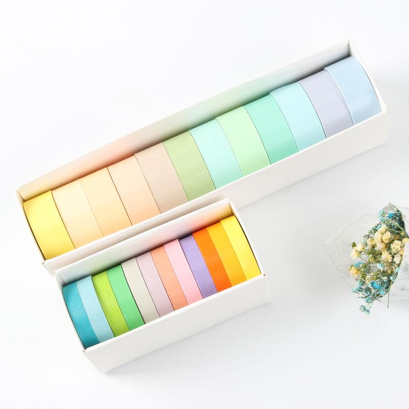 Albüm Dergisi DIY A6362 için 36pcs Şeker Pastel Renk Kağıt Washi Bant Seti 7.5mm 15mm Yapışkan Maskeleme Bantları Dekorasyon Çıkartma