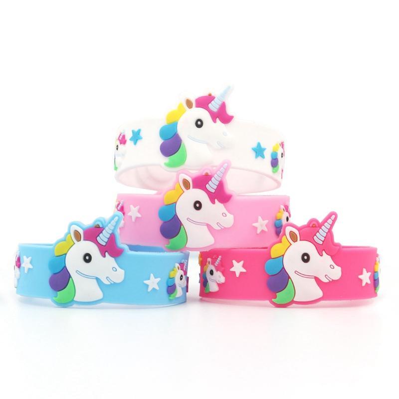 Unicorn Silicone Bracelet Cartoon Wristband Kid Girls Jewelry Fashion Silicone Unicorn Bracelet Children Gift Toy 4 Color HHA-1116