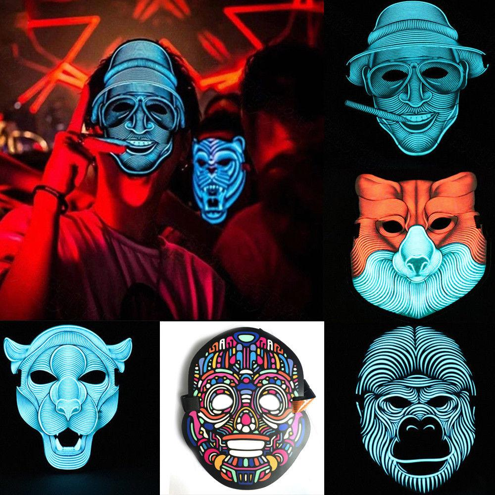 2019 Sound Reactive LED Light Up Halloween Mask Dance Rave EDM Party Cosplay NEW