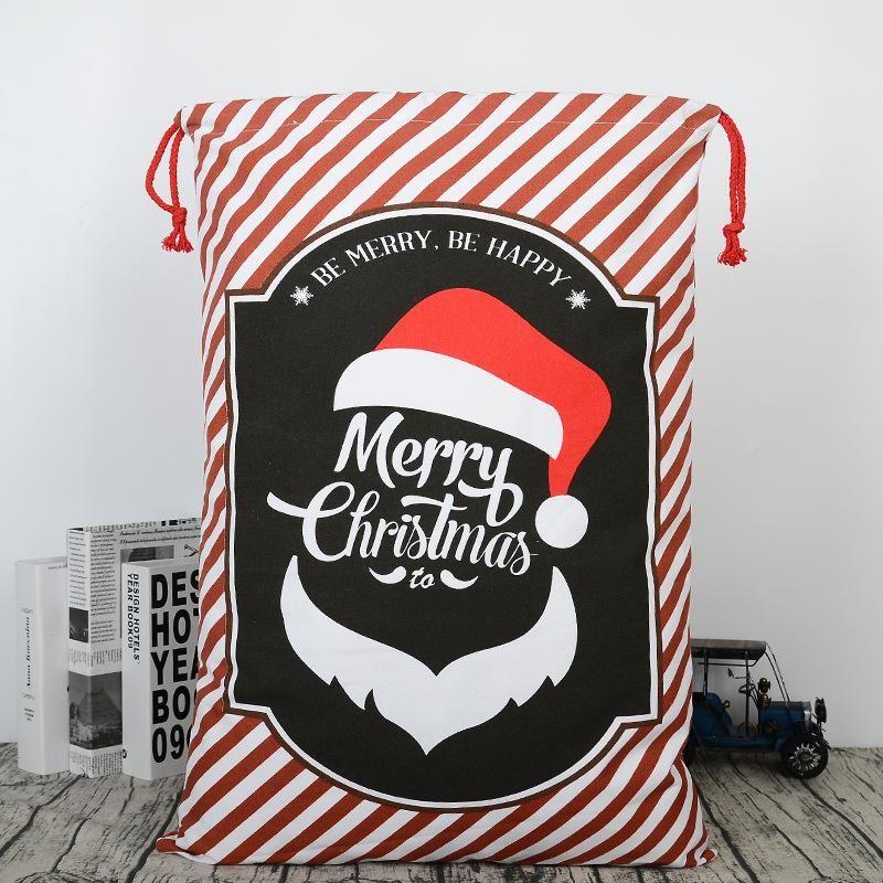 2019 Sacs cadeaux de Noël Grand sac fourre-tout organique lourd Père Noël Sac de jute Sac à cordonnet avec Reindeers Père Noël Sac de jute Sacs pour les enfants W951118