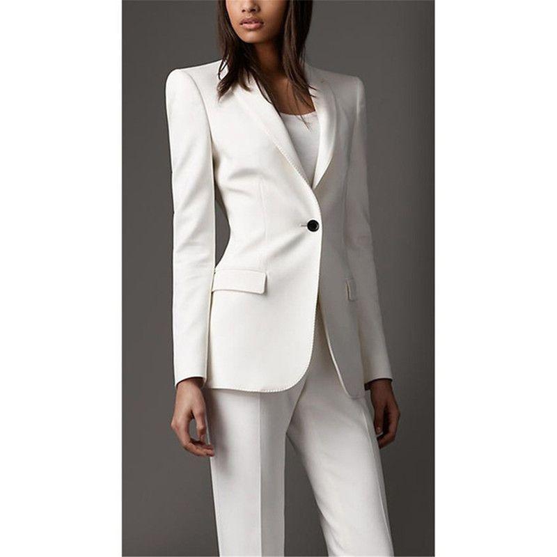 Custom made new women's white single button suit two-piece suit (jacket + pants) women's business office business wear