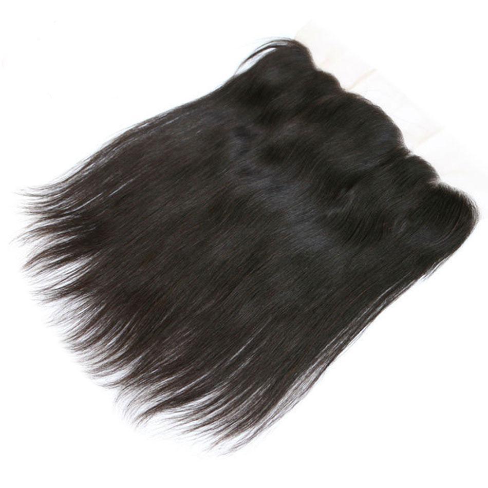 Перуанский Straight человеческих волос Кружева Фронтальная 13x4 с ребенком волос Средний / Free / Три части уха до уха Кружева Closur швейцарского кружева Естественного цвета