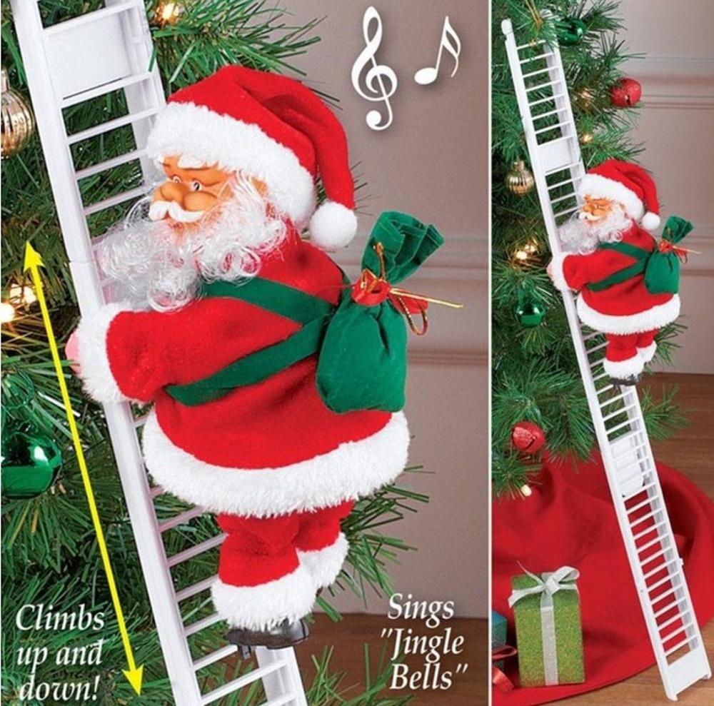 Elettrico Scaletta rampicante Babbo Natale cantando Figurine ornamento regali creativi per l'albero di Natale appeso ha contenitore di regalo