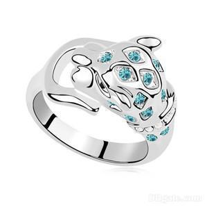 Trois anneaux de pierre Bijoux de fantaisie cristal autrichien Anneaux platine plaqué or blanc 18 carats Rempli 9016