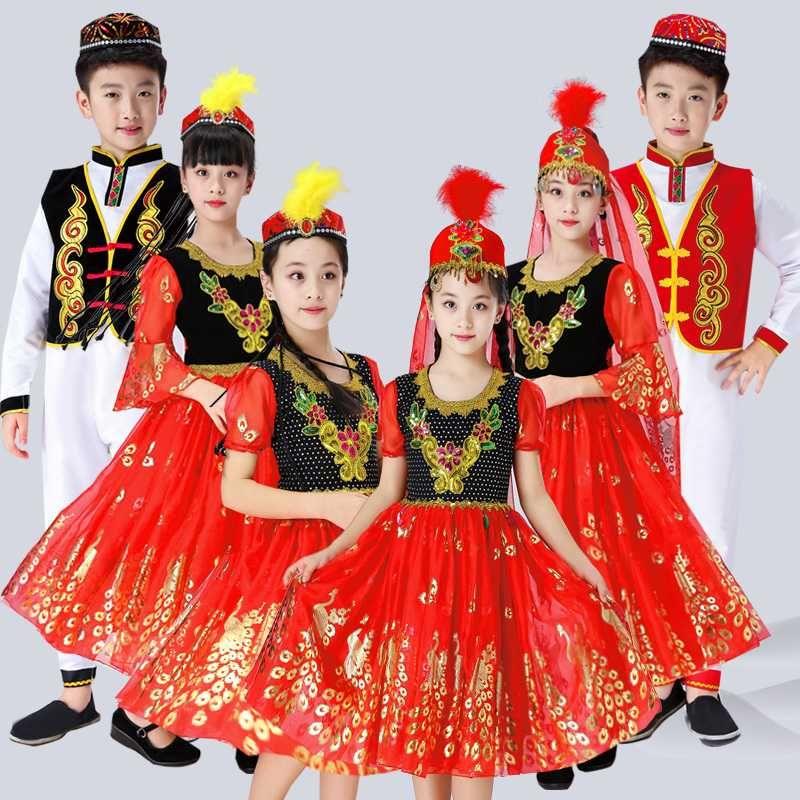 Дети Россия Национального Performance Одежда Современные девушки Мальчик красного Синьцзян костюмы для детей принцессы партии Китайского танца платье
