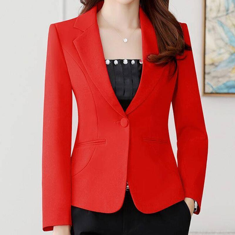 Nova Blazer Mulheres rosa Long Sleeve Blazers Sólidos One Button Brasão Magro Office Lady Jacket Blusas femininas Suit Blazer Femme Jackets