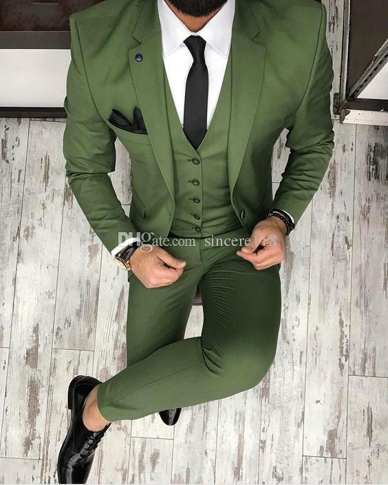 Three Piece Green Evening Party Men Suits Notch Lapel Trim Fit Custom Made Wedding Tuxedos (Jacket + Pants + Vest+Tie)W:617