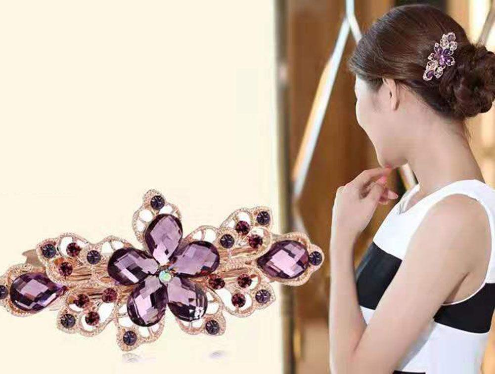 4 clip di capelli di cristallo pacchetto Barrette strass capelli Hair Style Flower Pin Barrettes