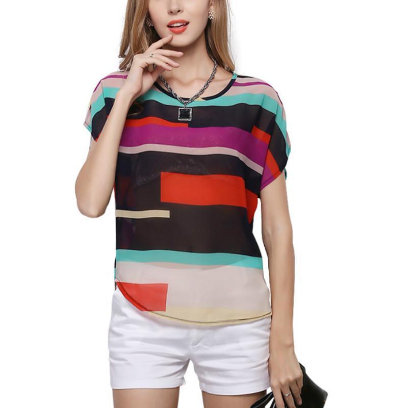 Frauen Shirts Groß Größe Farbe Striped Bat Regenbogen-O-Ansatz Bluse lose kurze Hülsen-unregelmäßige Sieben-Farben-gestreiftes Chiffon- Hemd