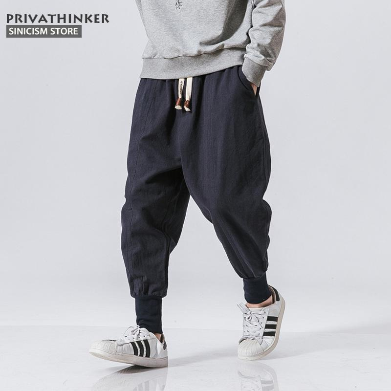 Sinicism Store Japanese Casual Cotton Linen Trouser Male Harem Pant Men Ankle Banded Jogger Pant Chinese Traditional Clothe Y19073001