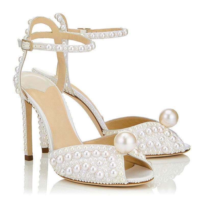 New summer pearl peep toe 10cm high-heeled wedding shoes brand designer white sexy bridal dress sandals ankel strap size 35-41