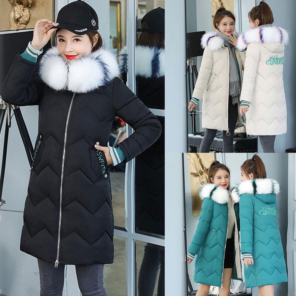 HSU-Frauen arbeiten Oberbekleidung Lange Baumwolle gefütterte Jacken Tasche aus Kunstpelz mit Kapuze Mäntel Warm Fashion Schnee Outwear