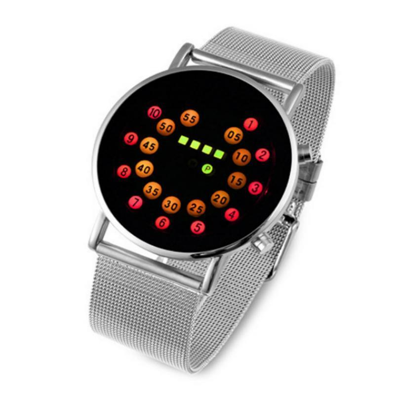 Factory Direct Korean Version Creative LED Watches Steel Belt Fashion Personality Ball Electronic Table Custom Wholesale Watch