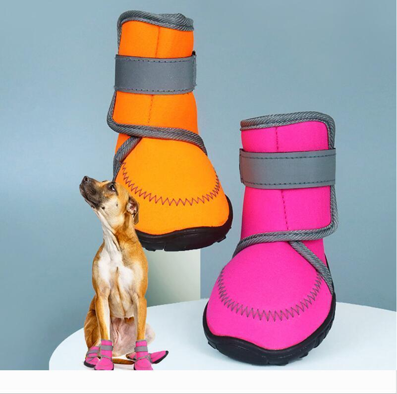 Chaussures imperméables pour chiens bretelles ajustables et robuste Bottes Semelle antidérapante patte protecteurs réfléchissants pour Medium Large Dogs Labrador Husky