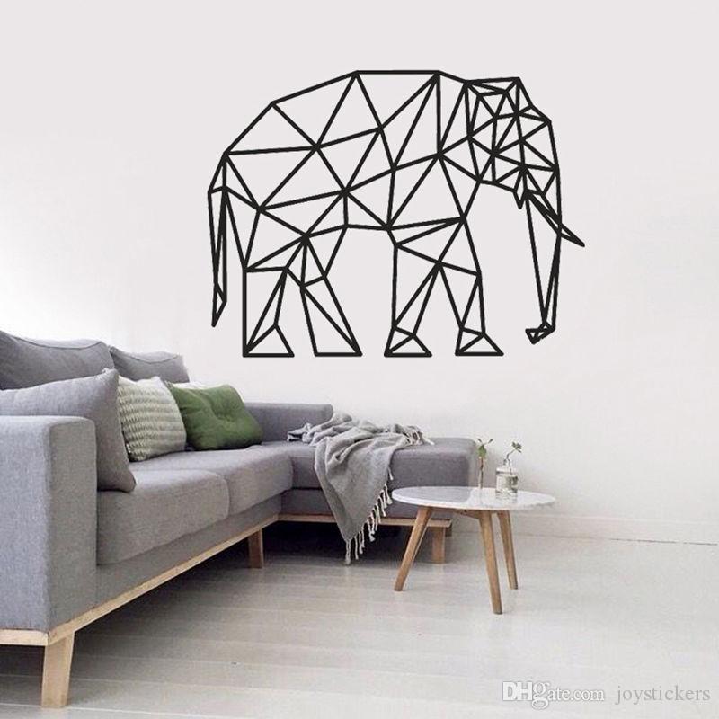 Geometric Pared elefante pegatinas de vinilo removible impermeable Specia Animal cartel Tatuajes de pared para el sofá Antecedentes sitio de los niños
