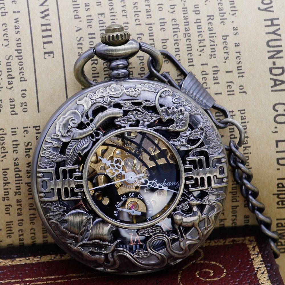 Top Band Retro Hand Wind Mechanical Pocket Watch With Fob Chain Hollow Skeleton Dial Fashion Pocket Watch For Men Women PJX1312