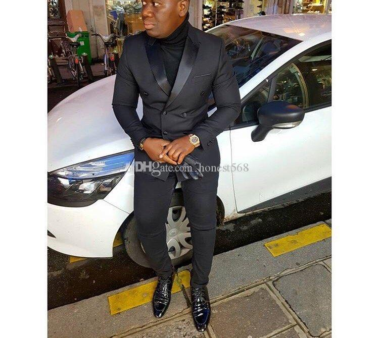 Cheap And Fine Double-Breasted Groomsmen Peak Lapel Groom Tuxedos Men Suits Wedding/Prom/Dinner Best Man Blazer(Jacket+Pants+Tie) A382