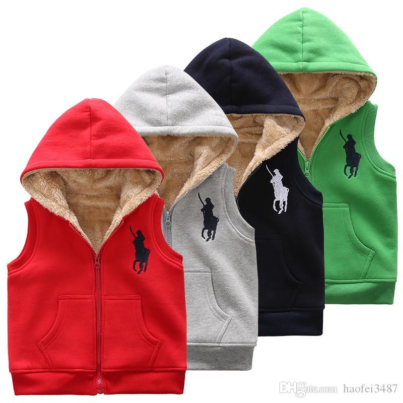 아이 디자이너 재킷 겨울 소년 소녀 조끼 양복 조끼 코튼 패딩 코트 추가 울 후드 민소매 재킷 두꺼운 따뜻한 아이 착실히 보내다