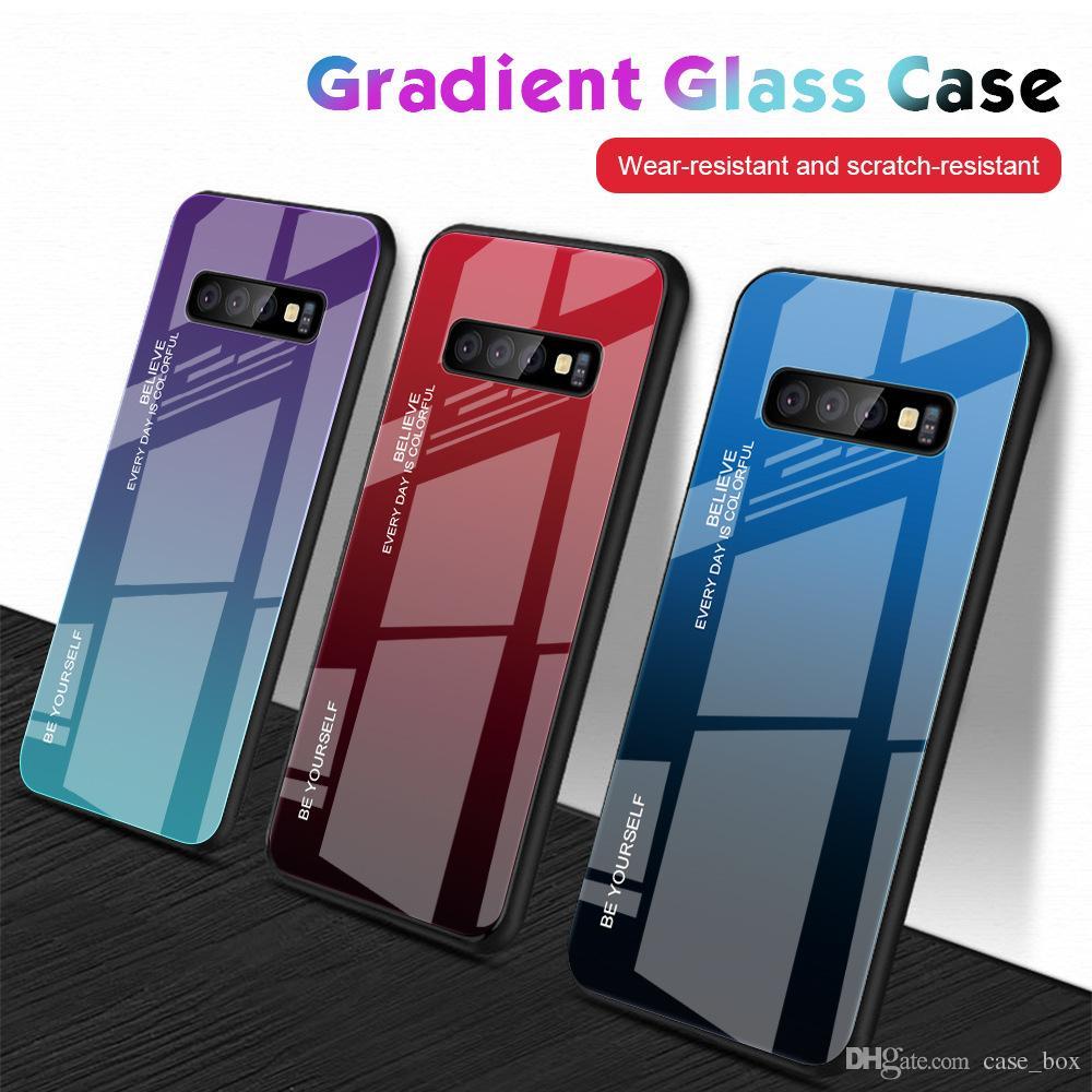 Градиент стекла Гибридный чехол для Samsung Galaxy A10 A20 A30 A20E A50 A40 A60 A70 M20 M30 S11 Plus S11e крышки к царапинам анти Противоударно