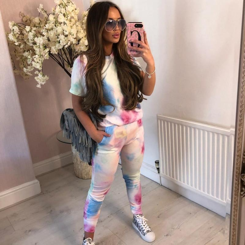 2020 Frauen Mode Kleidung stellt kurze Hülse O Ansatz Top und Leggings 2 Stück Set Tie Dye-beiläufige Dame Fashion Frauen Outfits