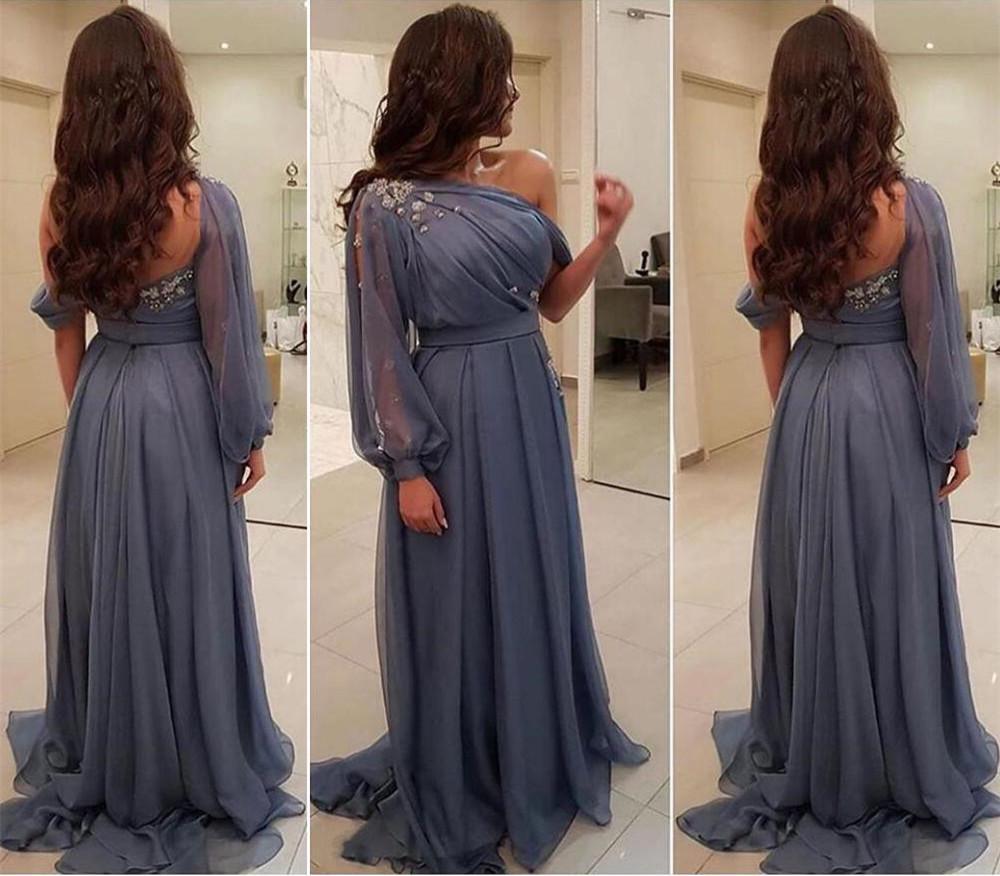 Новые один длинный рукав мать невесты Платья с бисером Ruched шифон свадебное платье для гостей Пром вечерние платья