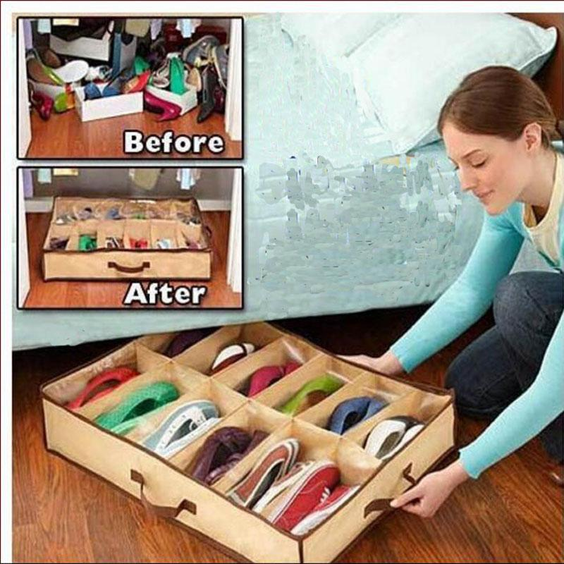 12 Çift Kumaş Kumaş 67 * 56 * 15cm Ev Sıcak için kullanabileceğiniz Depolama Organizatör Tutucu Ayakkabı Organizatör Kutuları Closet Ayakkabı
