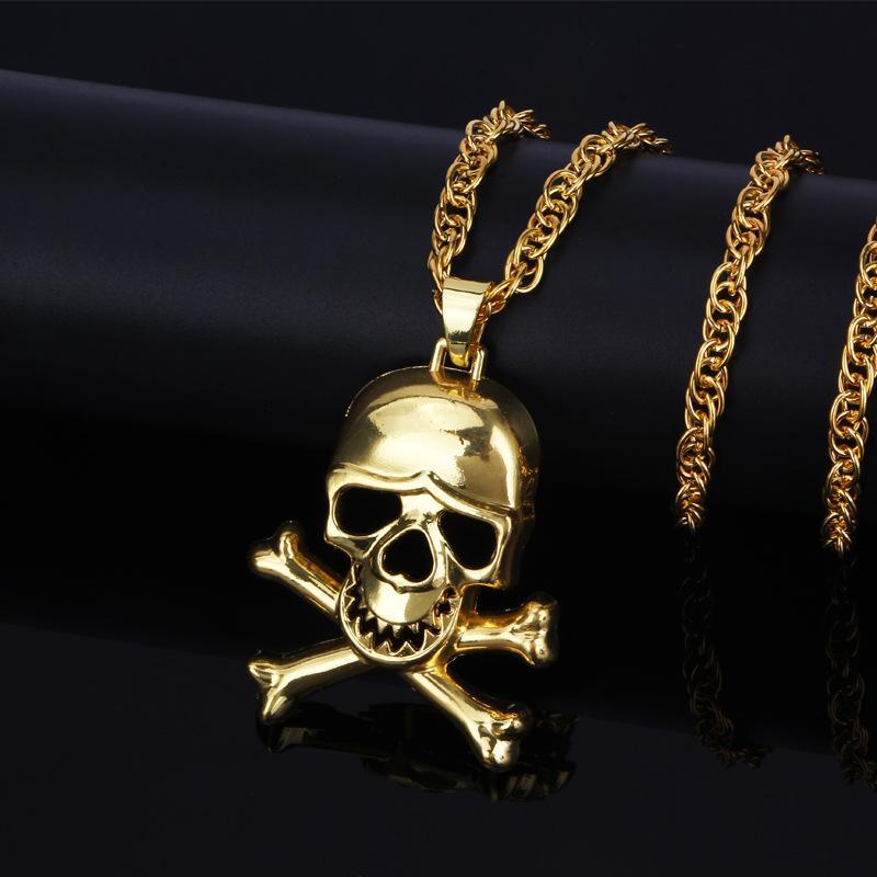 ExquSkull Collar Para Hombres / Mujeres Joyería de Halloween Colgante Gótico Collares de Cadena Hombre Joyería Punk Regalo Oro / astilla Color Hip Hop Joyería