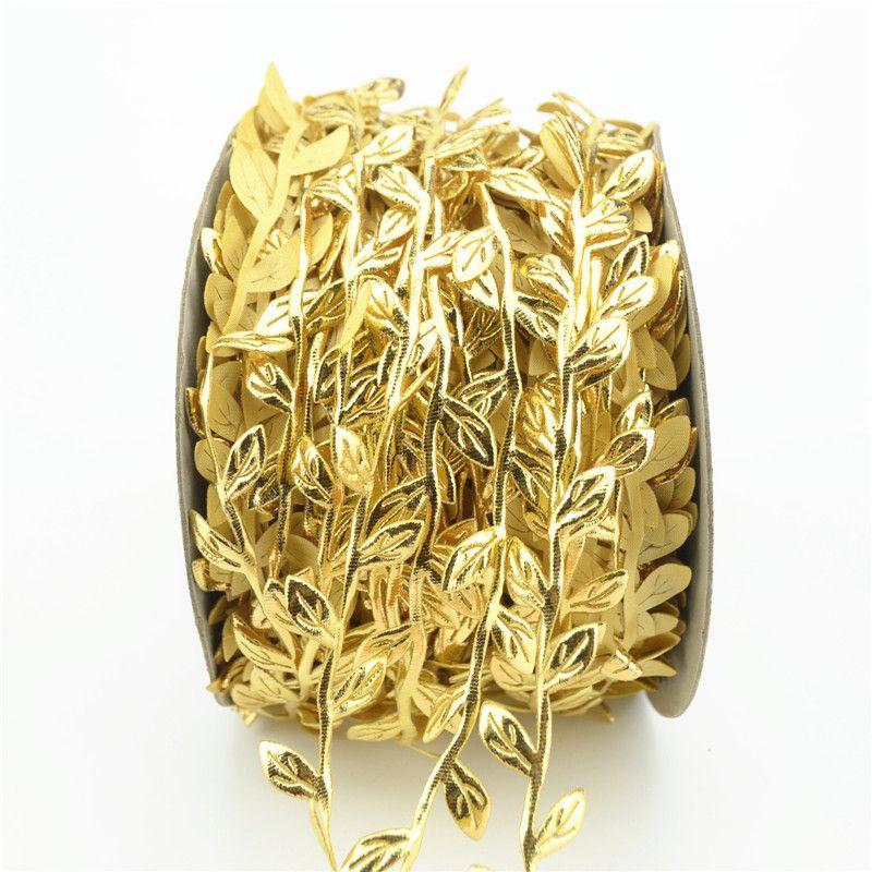 2019 5 Meter Silk Nature Gold Artificial Leaf Leaves Vine For Wedding Box Decoration Foliage Handmade Scrapbooking Craft Wreath