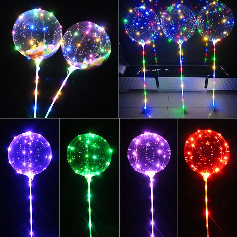 Luminous LED Balloon 20 inch Transparent Colored Lighting Balloons With 70cm Pole 3 Meters Led Line String Wedding Party Decorations Holiday