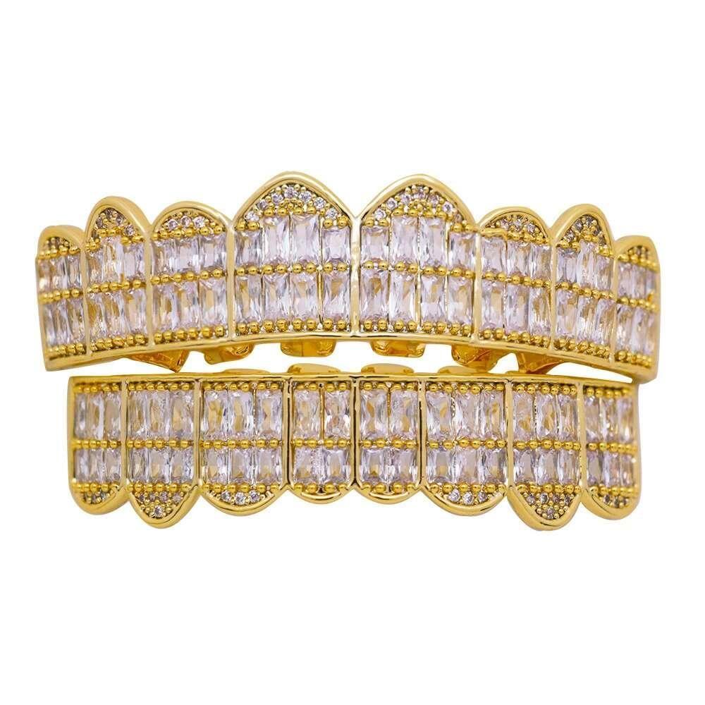erkekler kadınlar elmas diş ızgaraları 18k altın kaplama moda serin rapçiler altın gümüş kristal dişler takı için Hip hop grillz