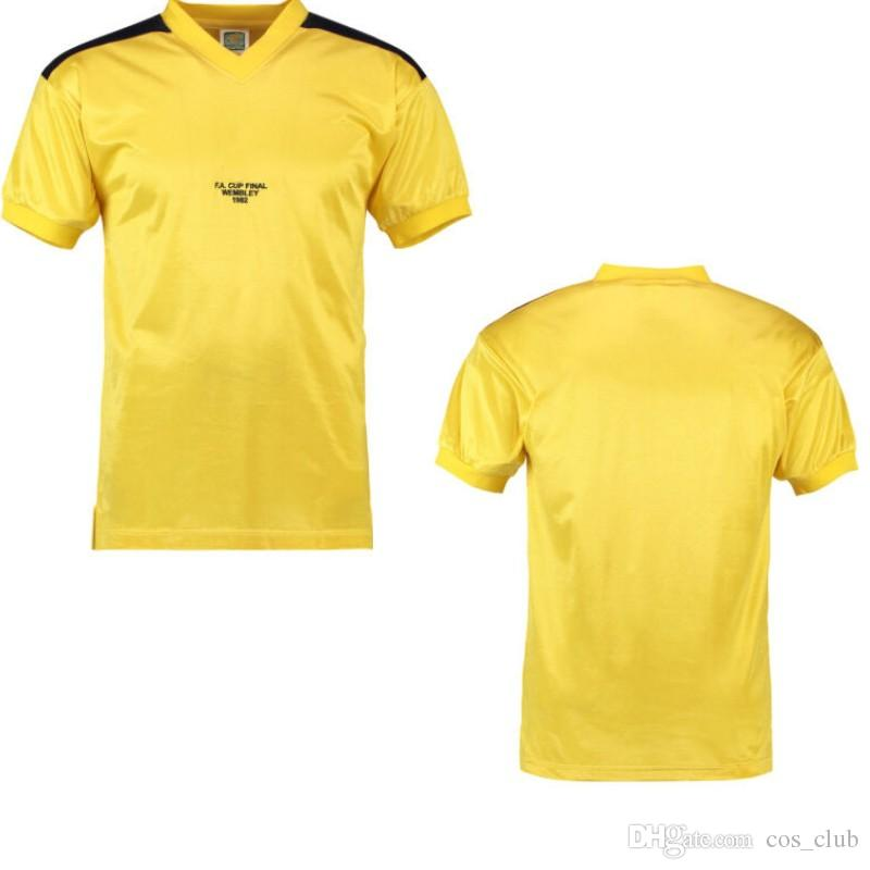 Tottenham retro formalar 1982 FA Fincan Final Uzakta futbol gömlek Glenn Hoddle vintage üniforma erkek sarı şort futbol maillot de ayak tops