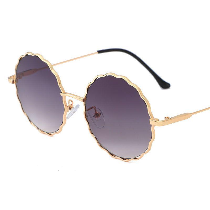 Atractivos de las mujeres Gafas de sol del ojo de gato 2019 Marco de moda nuevos Marca Ronda de los vidrios de Sun elegante hueco Eyewear para los hombres de las mujeres UV400 FML