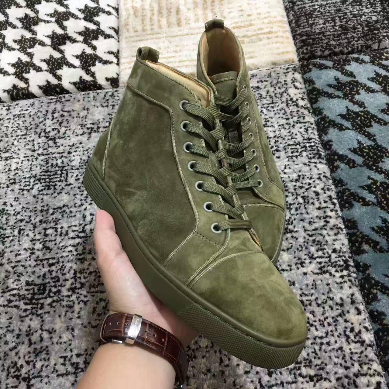 2019 Christian Louboutin Yeni erkek womens yüksek üst yeşil süet kırmızı alt rahat ayakkabılar, moda beyefendi tasarımcı dantel-up sneakers boyutu 36-46