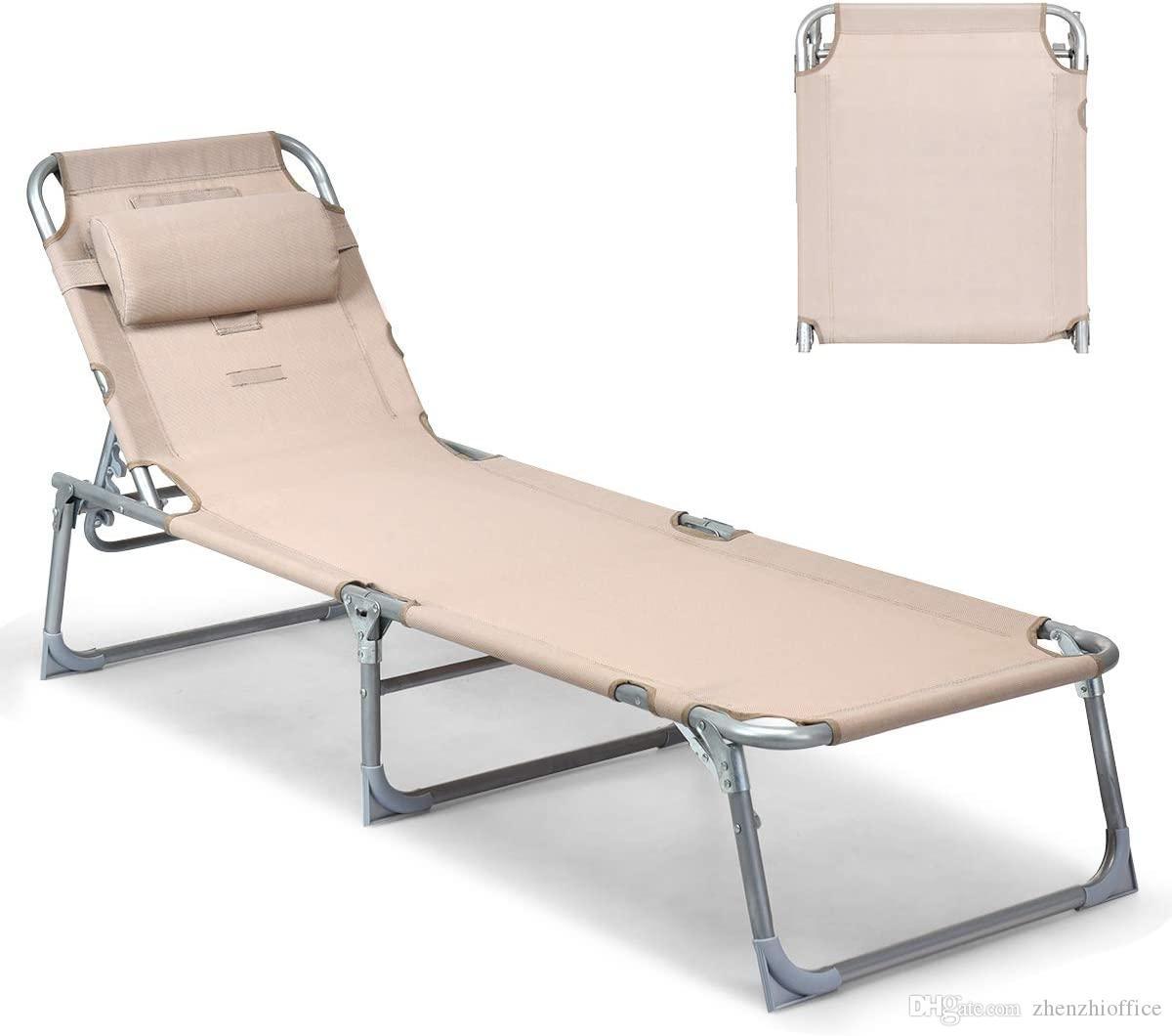 Silla ajustable reclinable Chaise Lounge w / Solarium bronceado cara al suelo agujero de playa al aire libre Patio cubierta (albaricoque)