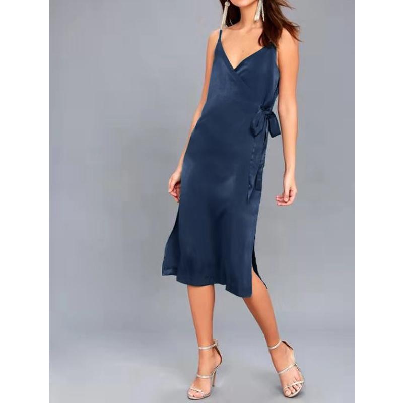 Donne abito di raso v collo del legame vita naturale signore elegante abito da sera M30484