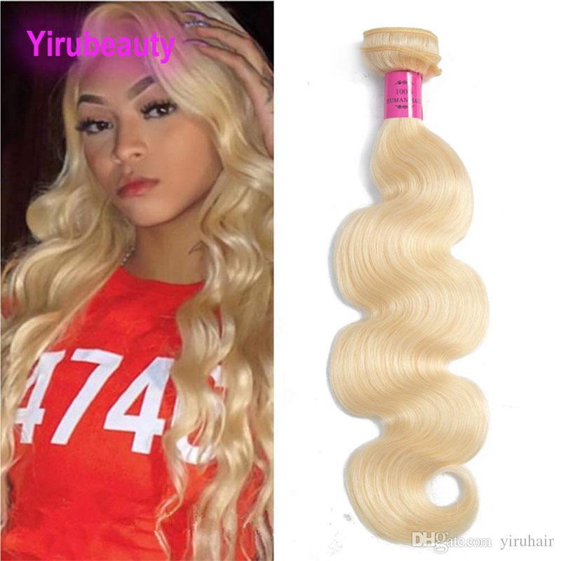 Brazilian Peruvian Indian Virgin Hair 613# Blonde Body Wave Human Hair Bundles 613# Light Color 95-105g/piece Full Remy Hair Weaves
