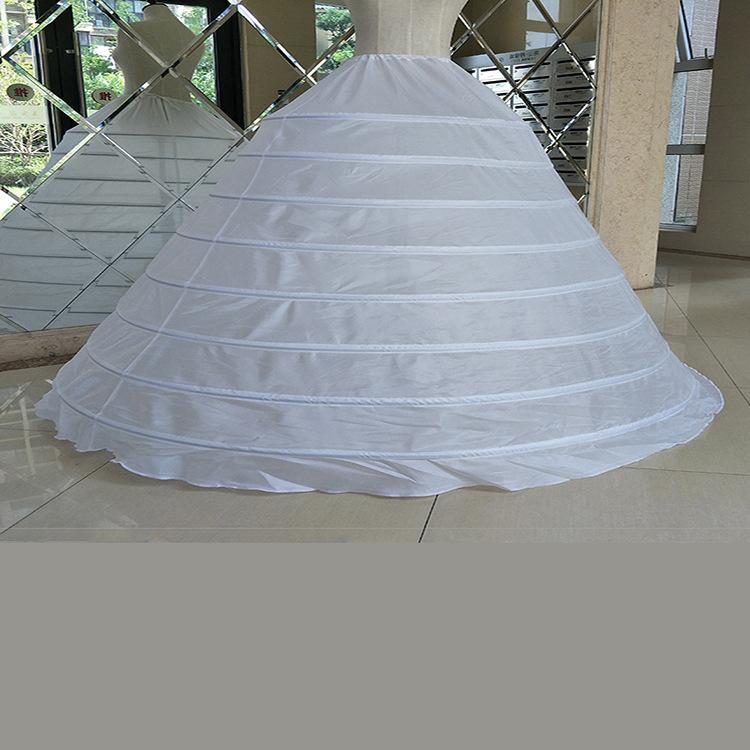 فستان الزفاف لونغ الكرة بثوب الزفاف التنورة الداخلية الأبيض مطاطا زنار 8 الأطواق لا غزل الأداء التنورة الداخلية