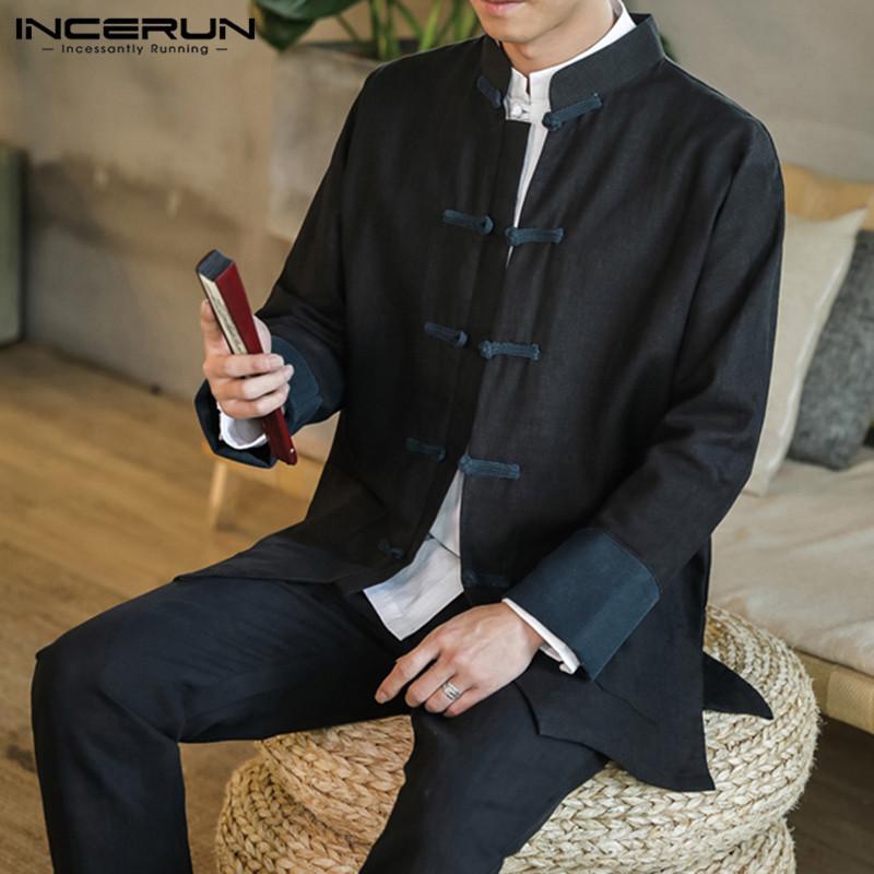2019 Китайский стиль традиционная рубашка мужчины хлопок кнопка старинные лоскутное Тан костюм блузка с длинным рукавом мужская повседневная рубашки INCERUN