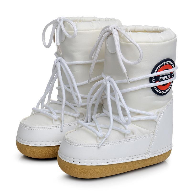 SWONCO Schneestiefel Frau Winter-warme Schuh-Plattform-Mond-Raum Boots Female 2019 Winter-Samt-Pelz-warmes Ankle Boots Snowboot T200104